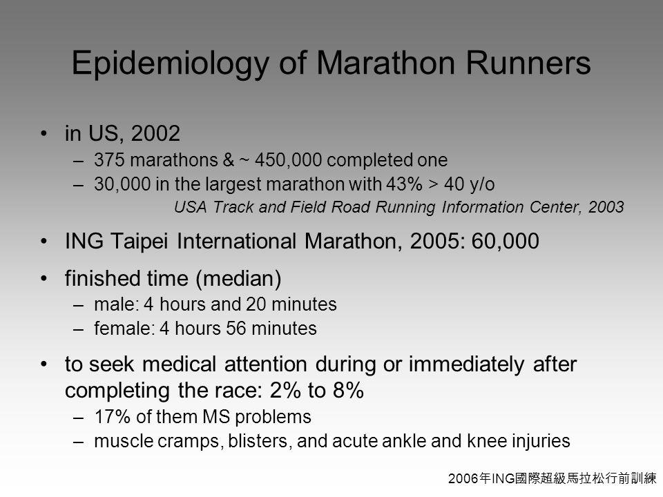 2006 年 ING 國際超級馬拉松行前訓練 Epidemiology of Marathon Runners in US, 2002 –375 marathons & ~ 450,000 completed one –30,000 in the largest marathon with 43% > 40 y/o USA Track and Field Road Running Information Center, 2003 ING Taipei International Marathon, 2005: 60,000 finished time (median) –male: 4 hours and 20 minutes –female: 4 hours 56 minutes to seek medical attention during or immediately after completing the race: 2% to 8% –17% of them MS problems –muscle cramps, blisters, and acute ankle and knee injuries