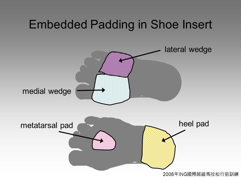2006 年 ING 國際超級馬拉松行前訓練 Embedded Padding in Shoe Insert heel pad metatarsal pad medial wedge lateral wedge