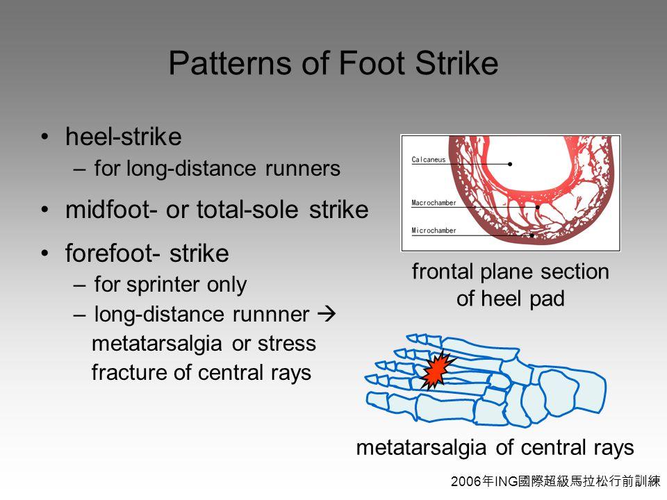 2006 年 ING 國際超級馬拉松行前訓練 Patterns of Foot Strike heel-strike –for long-distance runners midfoot- or total-sole strike forefoot- strike –for sprinter only –long-distance runnner  metatarsalgia or stress fracture of central rays frontal plane section of heel pad metatarsalgia of central rays