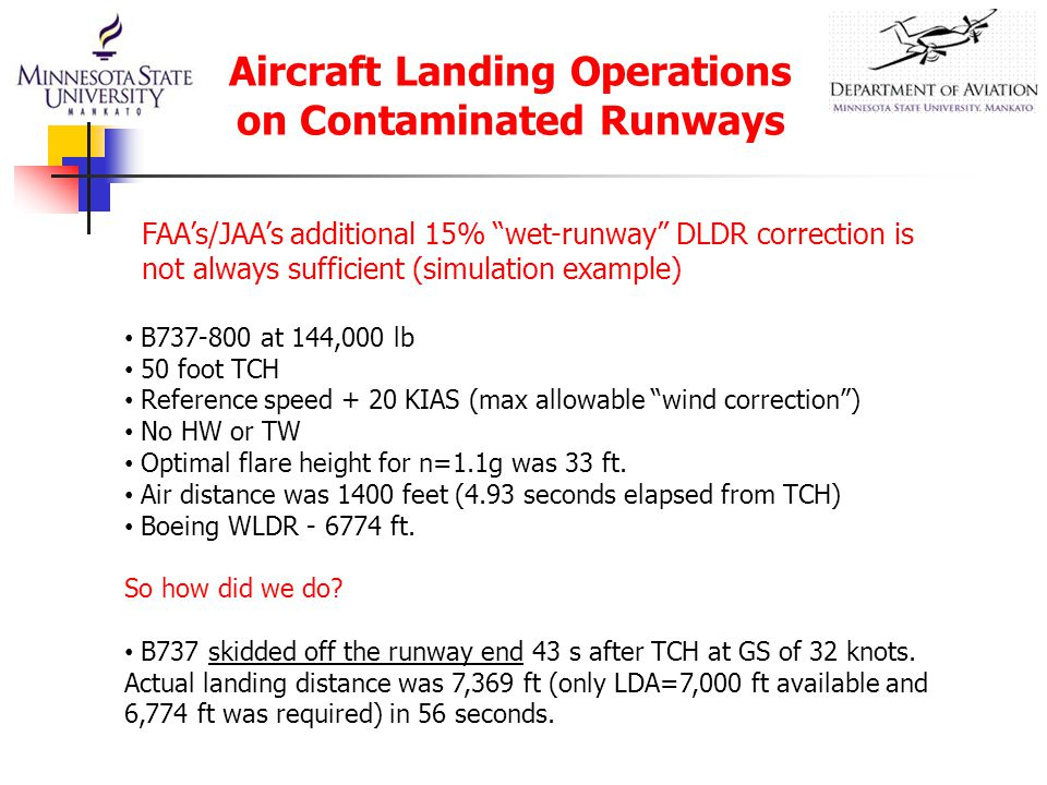 """FAA's/JAA's additional 15% """"wet-runway"""" DLDR correction is not always sufficient (simulation example) B737-800 at 144,000 lb 50 foot TCH Reference spe"""