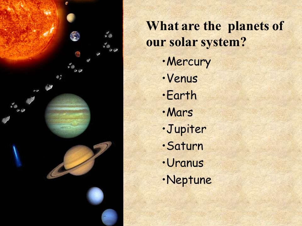 Mercury Venus Earth Mars Jupiter Saturn Uranus Neptune What are the planets of our solar system