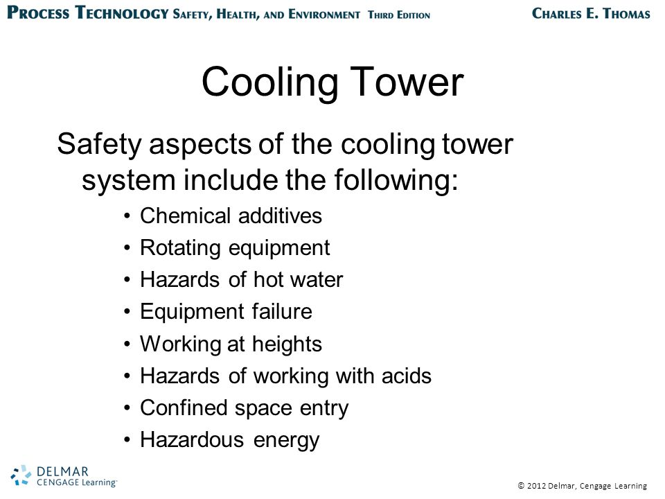 © 2012 Delmar, Cengage Learning Cooling Tower Safety aspects of the cooling tower system include the following: Chemical additives Rotating equipment Hazards of hot water Equipment failure Working at heights Hazards of working with acids Confined space entry Hazardous energy