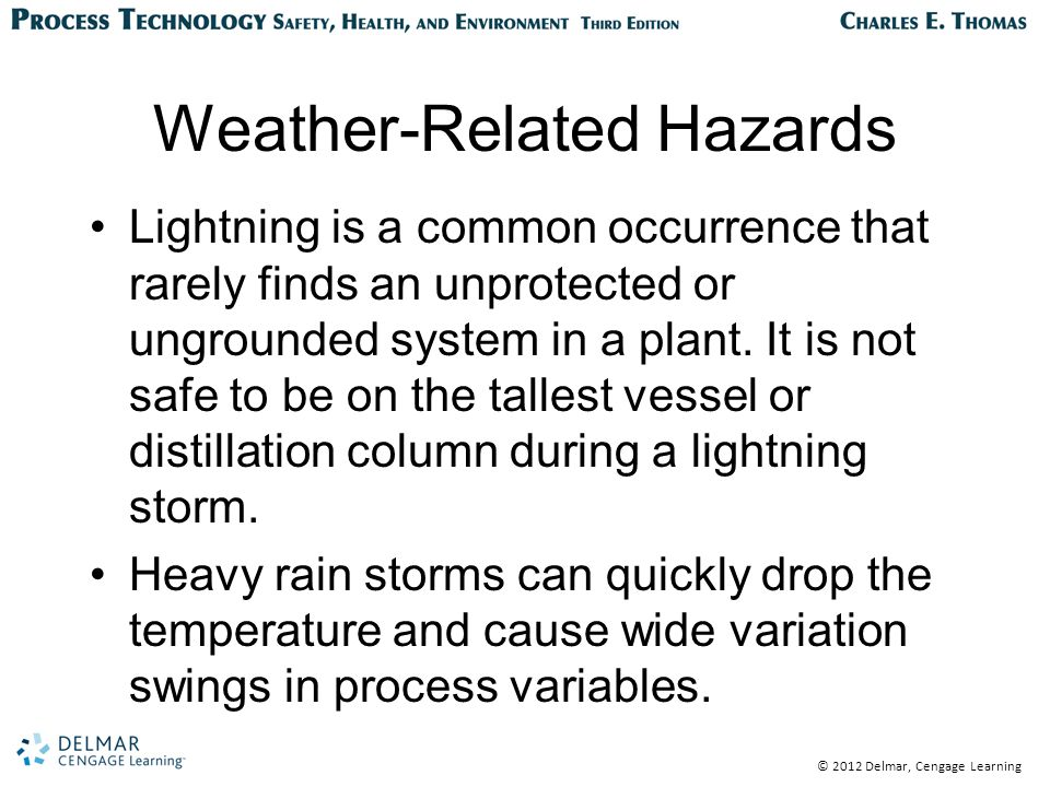© 2012 Delmar, Cengage Learning Weather-Related Hazards Lightning is a common occurrence that rarely finds an unprotected or ungrounded system in a plant.