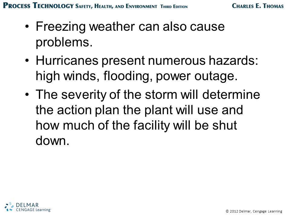 © 2012 Delmar, Cengage Learning Freezing weather can also cause problems.