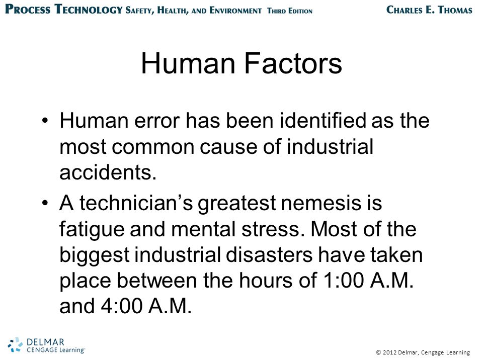 © 2012 Delmar, Cengage Learning Human Factors Human error has been identified as the most common cause of industrial accidents.