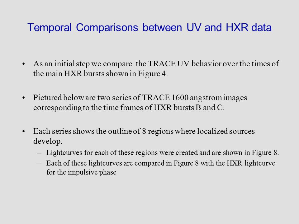 Temporal Comparisons between UV and HXR data As an initial step we compare the TRACE UV behavior over the times of the main HXR bursts shown in Figure 4.