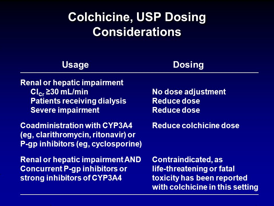 Colchicine, USP Dosing Considerations UsageDosing Renal or hepatic impairment Cl Cr ≥30 mL/minNo dose adjustment Patients receiving dialysisReduce dos