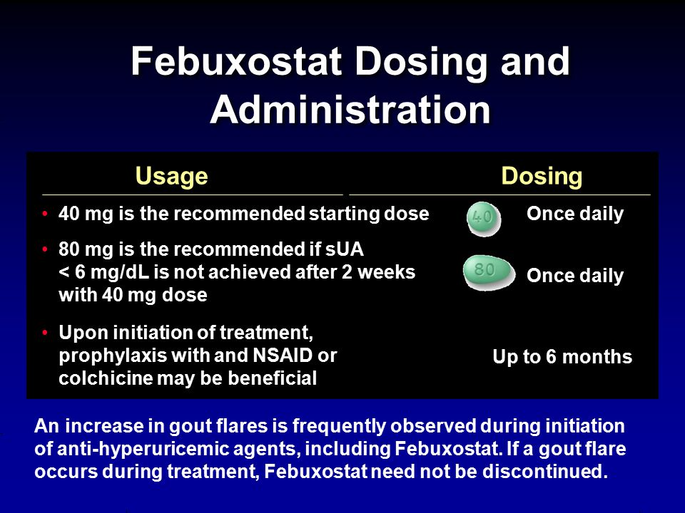 Febuxostat Dosing and Administration An increase in gout flares is frequently observed during initiation of anti-hyperuricemic agents, including Febux