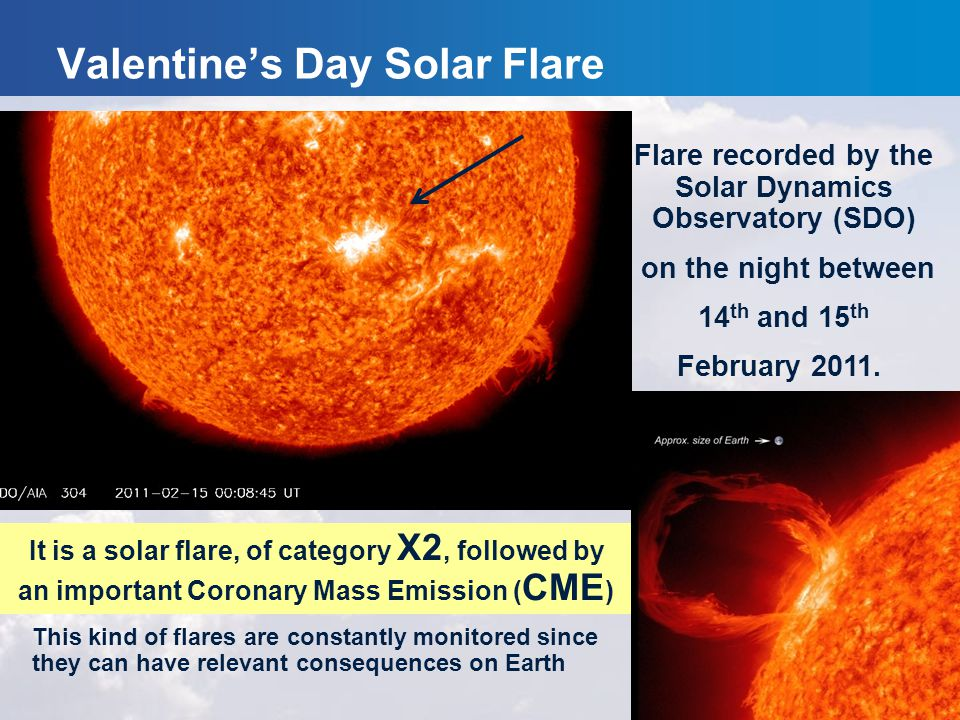 Flare recorded by the Solar Dynamics Observatory (SDO) on the night between 14 th and 15 th February 2011. It is a solar flare, of category X2, follow