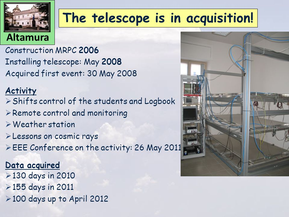Construction MRPC 2006 Installing telescope: May 2008 Acquired first event: 30 May 2008 Activity  Shifts control of the students and Logbook  Remote control and monitoring  Weather station  Lessons on cosmic rays  EEE Conference on the activity: 26 May 2011 Data acquired  130 days in 2010  155 days in 2011  100 days up to April 2012 The telescope is in acquisition.