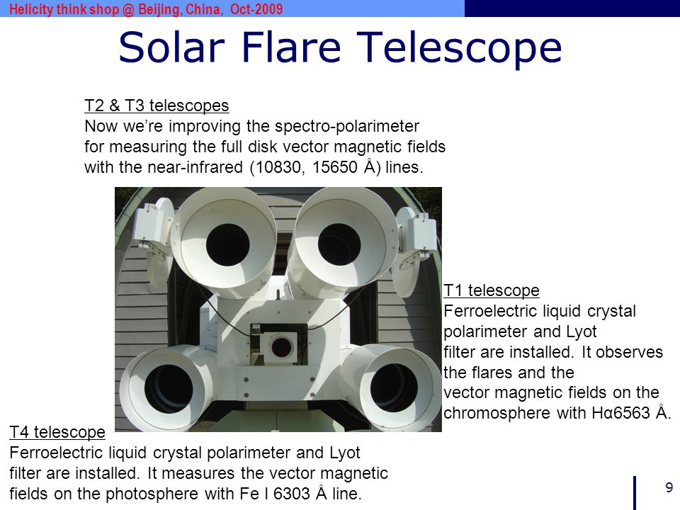 www.***.com 9 Solar Flare Telescope Helicity think shop @ Beijing, China, Oct-2009 T4 telescope Ferroelectric liquid crystal polarimeter and Lyot filt