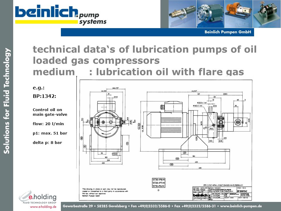 technical data's of lubrication pumps of oil loaded gas compressors medium : lubrication oil with flare gas e.g.: BP:1342: Control oil on main gate-valve flow: 20 l/min p1: max.