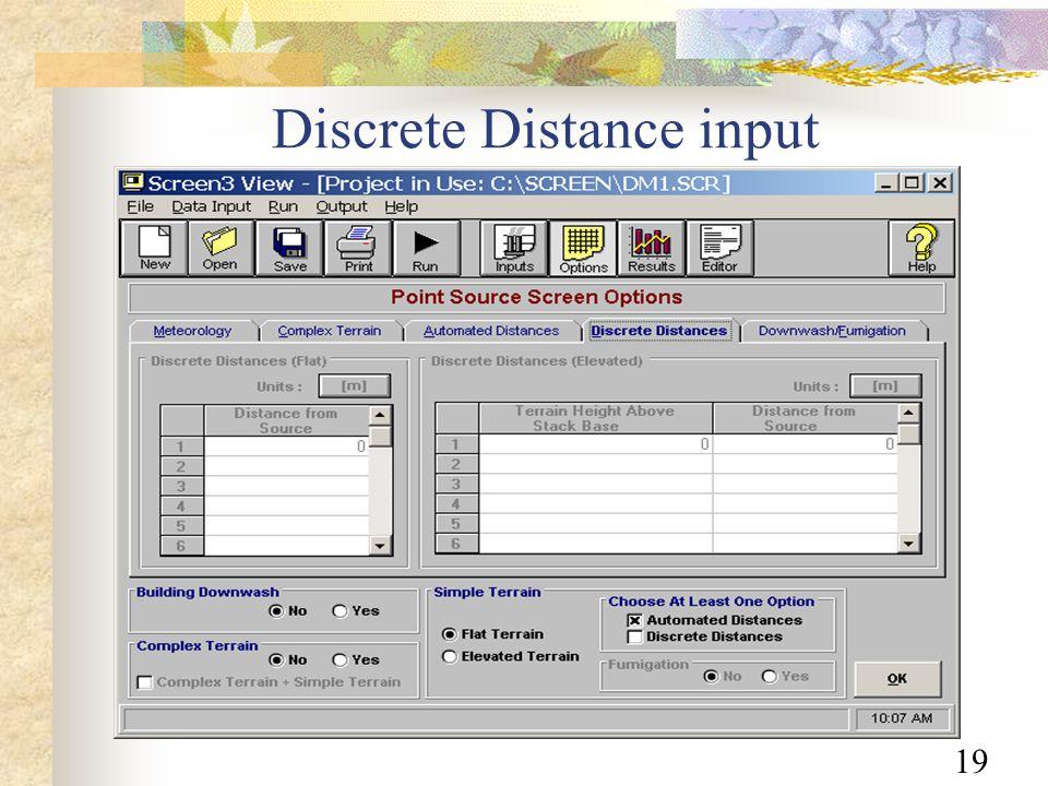 19 Discrete Distance input