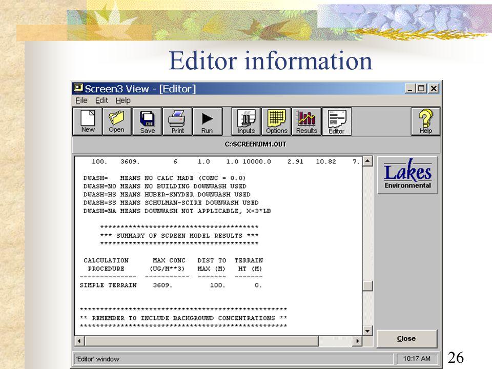 26 Editor information