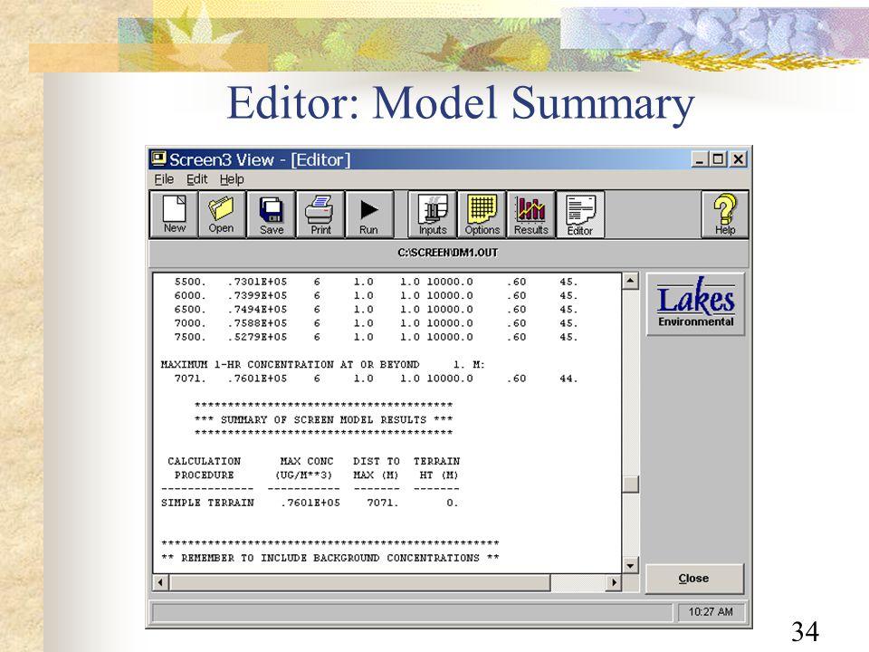 34 Editor: Model Summary