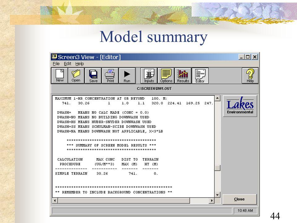 44 Model summary