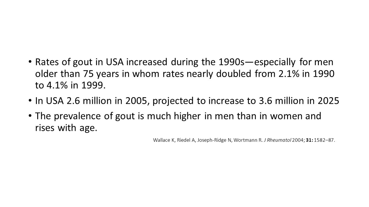 Rates of gout in USA increased during the 1990s—especially for men older than 75 years in whom rates nearly doubled from 2.1% in 1990 to 4.1% in 1999.