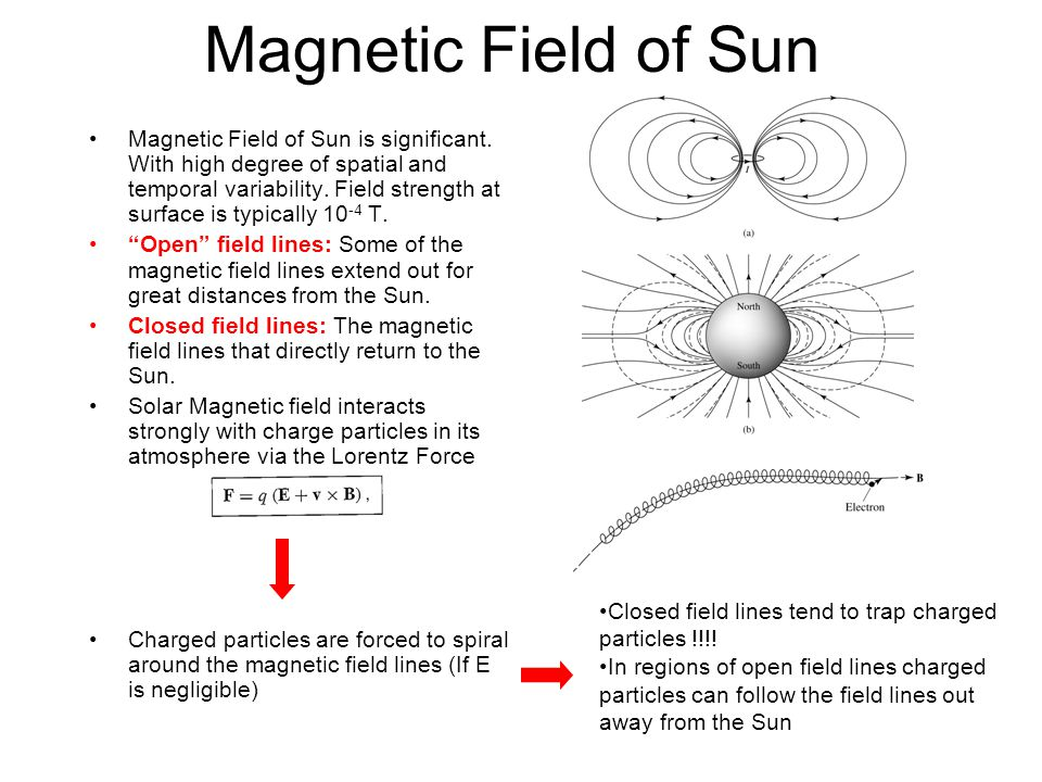 Magnetic Field of Sun Magnetic Field of Sun is significant. With high degree of spatial and temporal variability. Field strength at surface is typical