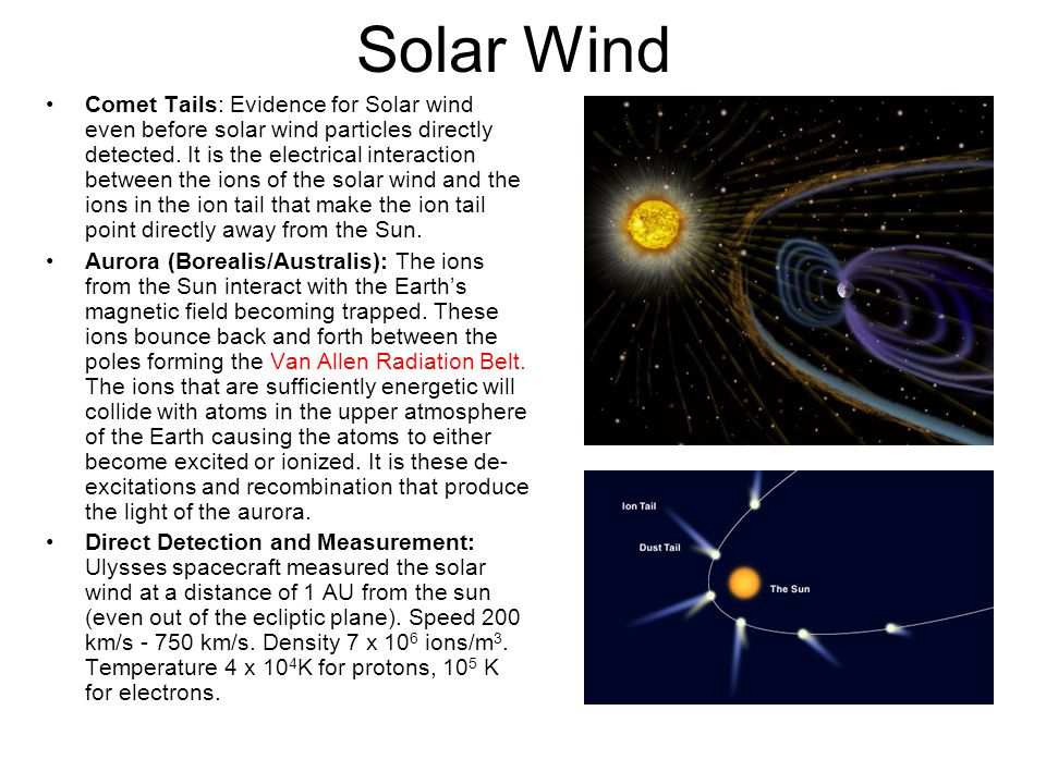 Comet Tails: Evidence for Solar wind even before solar wind particles directly detected. It is the electrical interaction between the ions of the sola