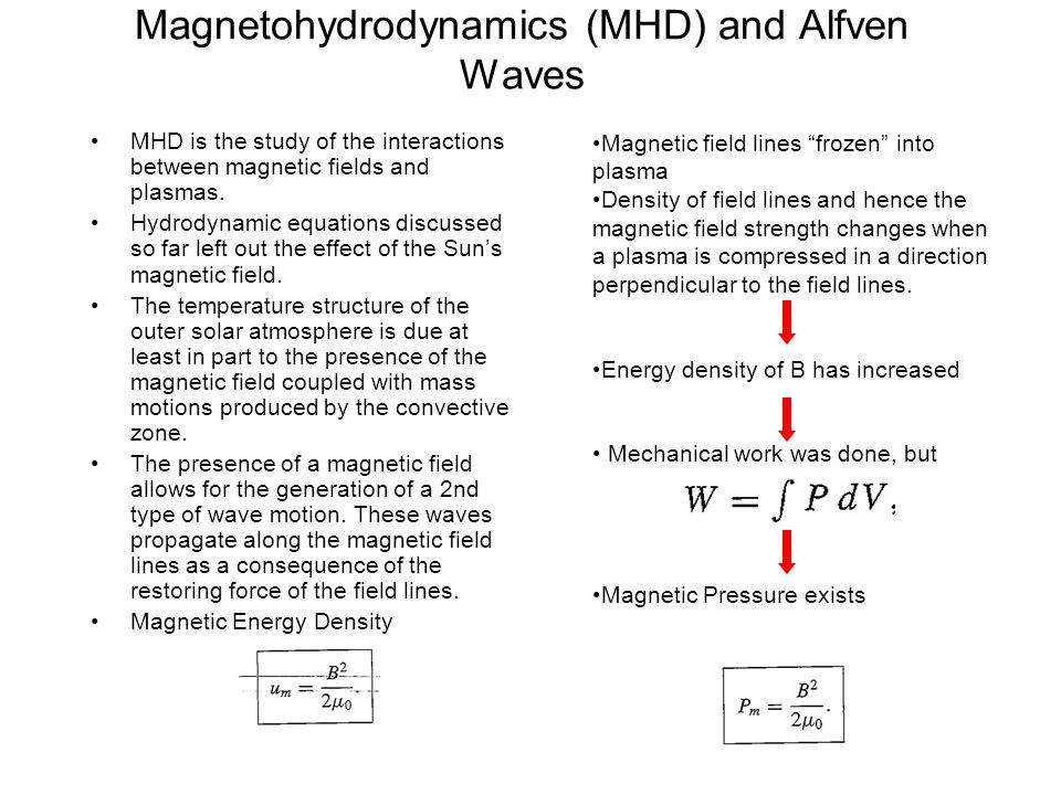Magnetohydrodynamics (MHD) and Alfven Waves MHD is the study of the interactions between magnetic fields and plasmas. Hydrodynamic equations discussed