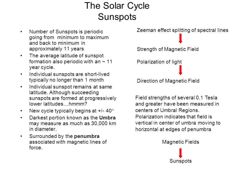 The Solar Cycle Sunspots Number of Sunspots is periodic going from minimum to maximum and back to minimum in approximately 11 years The average latitu