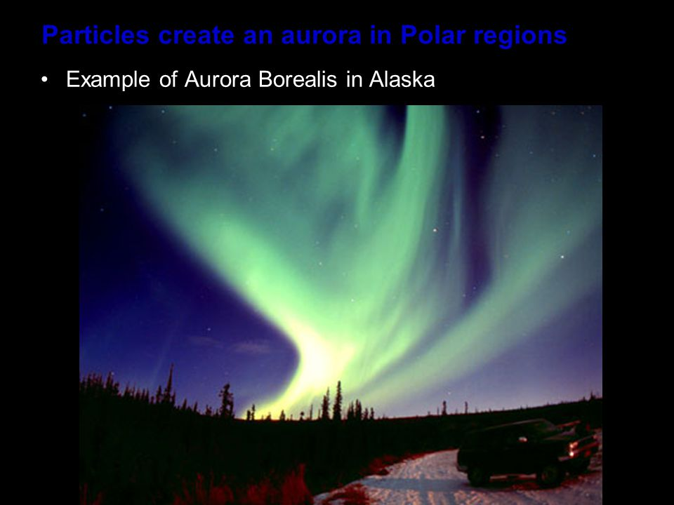 Particles create an aurora in Polar regions Example of Aurora Borealis in Alaska