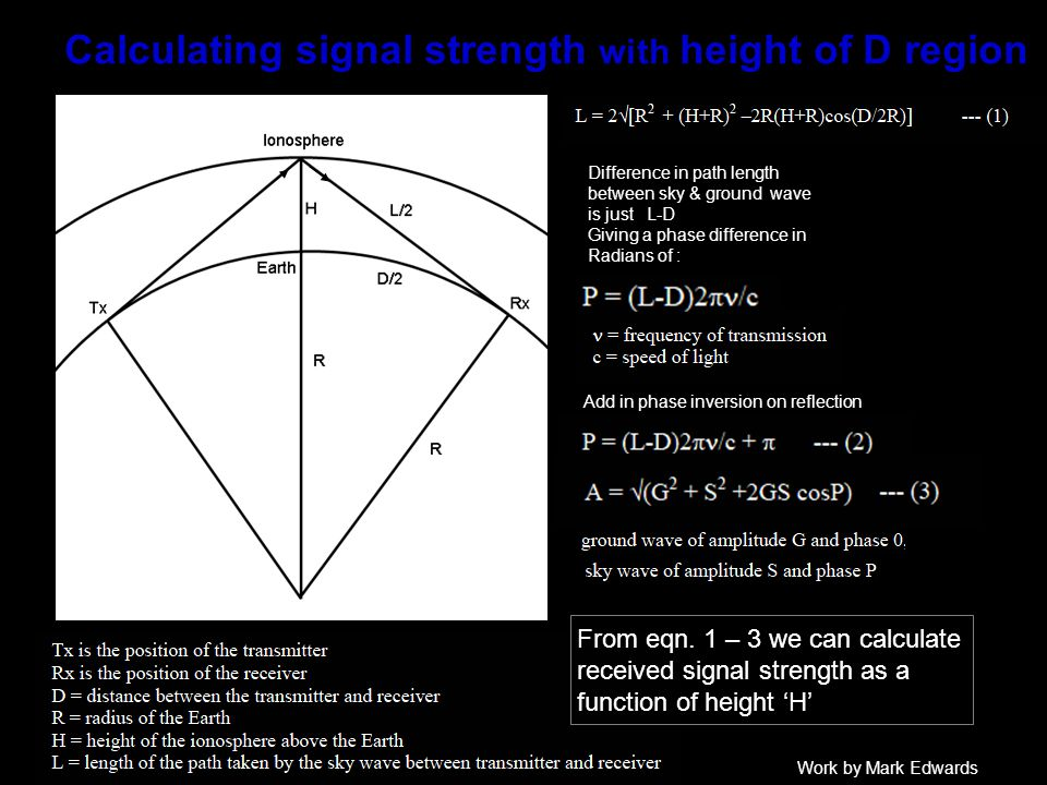 Calculating signal strength with height of D region Difference in path length between sky & ground wave is just L-D Giving a phase difference in Radians of : Add in phase inversion on reflection From eqn.