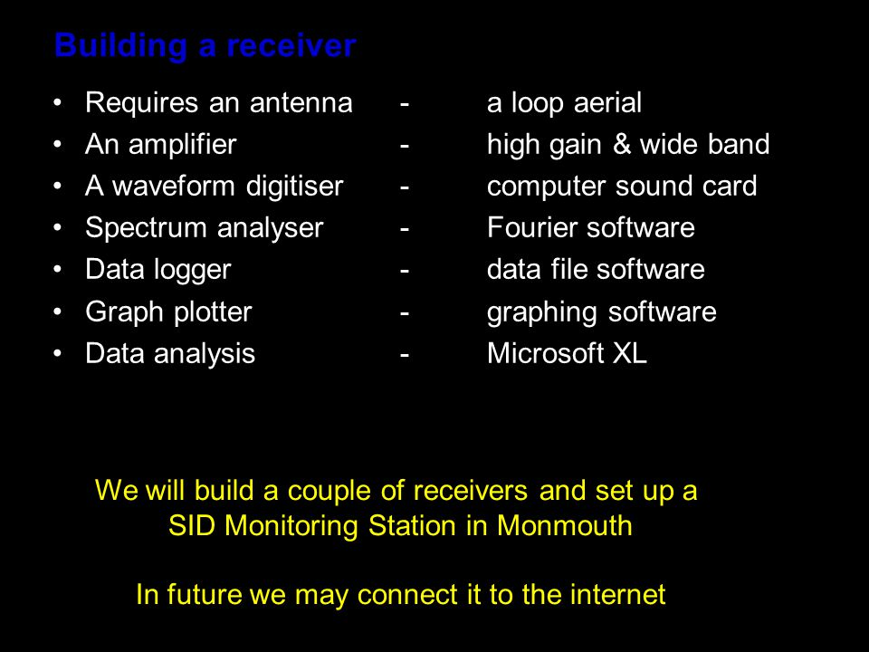 Building a receiver Requires an antenna-a loop aerial An amplifier-high gain & wide band A waveform digitiser- computer sound card Spectrum analyser-Fourier software Data logger-data file software Graph plotter-graphing software Data analysis-Microsoft XL We will build a couple of receivers and set up a SID Monitoring Station in Monmouth In future we may connect it to the internet