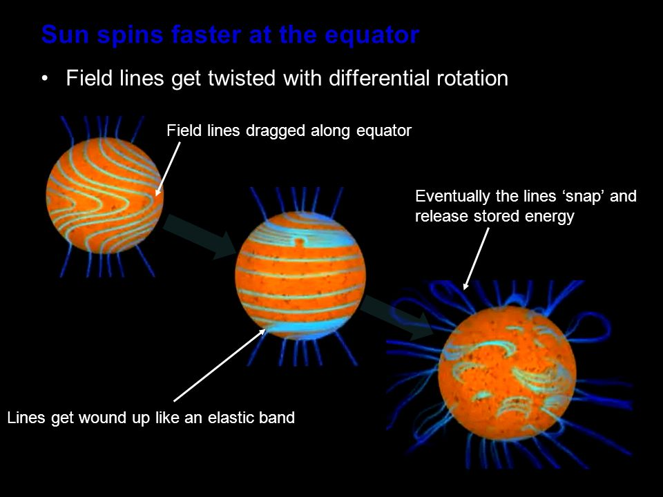 Sun spins faster at the equator Field lines get twisted with differential rotation Field lines dragged along equator Lines get wound up like an elastic band Eventually the lines 'snap' and release stored energy