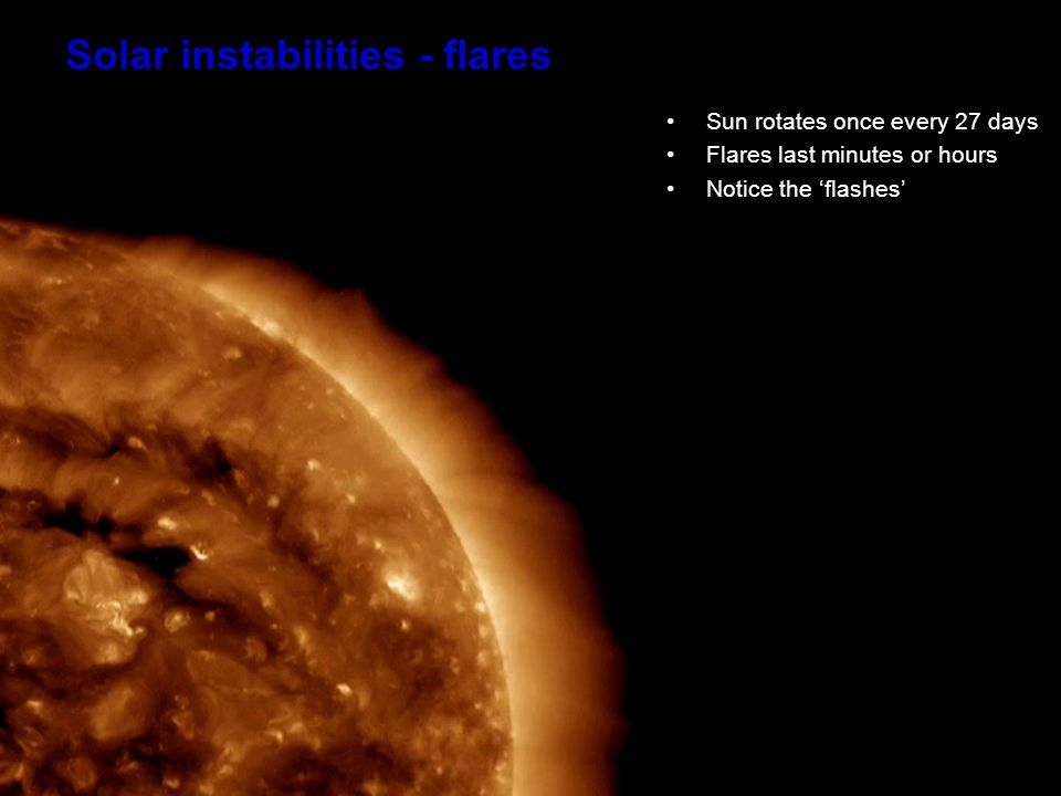 Solar Flares When the flare occurs the changing magnetic fields propel millions of tons of charged particles into space Sometimes in the direction of the Earth Energetic X Rays are also emitted & travel at the speed of light This 'prompt' radiation reaches earth in ~ 9 minutes – particles take several hours or days