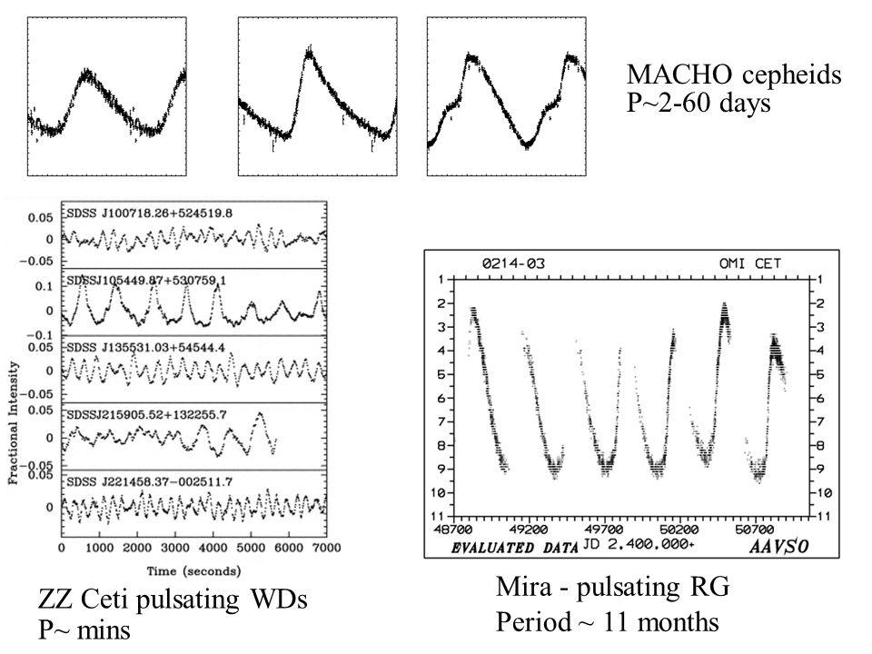 Mira - pulsating RG Period ~ 11 months MACHO cepheids P~2-60 days ZZ Ceti pulsating WDs P~ mins