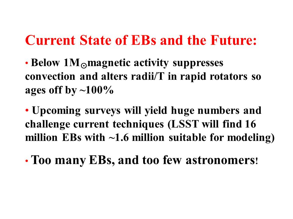 Current State of EBs and the Future: Below 1M  magnetic activity suppresses convection and alters radii/T in rapid rotators so ages off by ~100% Upcoming surveys will yield huge numbers and challenge current techniques (LSST will find 16 million EBs with ~1.6 million suitable for modeling) Too many EBs, and too few astronomers !