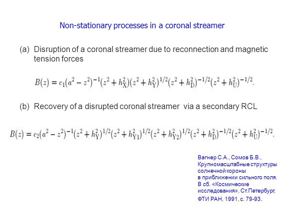 Non-stationary processes in a coronal streamer Вагнер С.А., Сомов Б.В., Крупномасштабные структуры солнечной короны в приближении сильного поля.