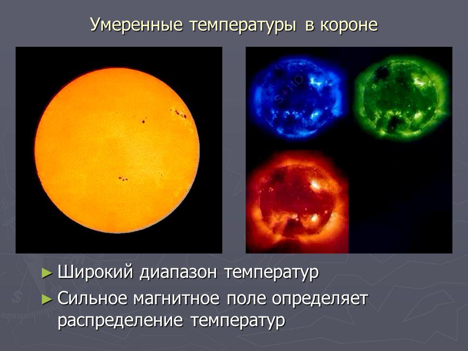 Умеренные температуры в короне ► Широкий диапазон температур ► Сильное магнитное поле определяет распределение температур