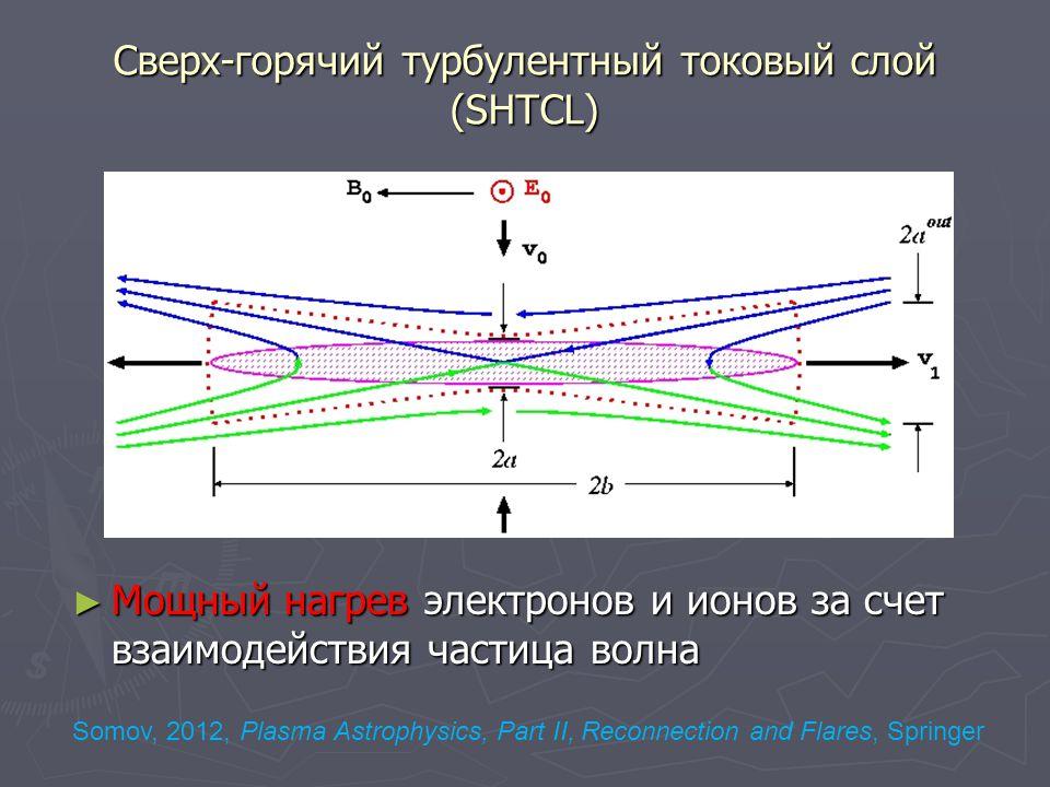Сверх-горячий турбулентный токовый слой (SHTCL) ► Мощный нагрев электронов и ионов за счет взаимодействия частица волна Somov, 2012, Plasma Astrophysics, Part II, Reconnection and Flares, Springer