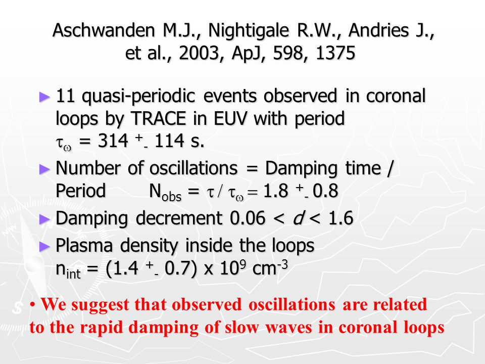 Aschwanden M.J., Nightigale R.W., Andries J., et al., 2003, ApJ, 598, 1375 Aschwanden M.J., Nightigale R.W., Andries J., et al., 2003, ApJ, 598, 1375 ► 11 quasi-periodic events observed in coronal loops by TRACE in EUV with period   = 314 + - 114 s.
