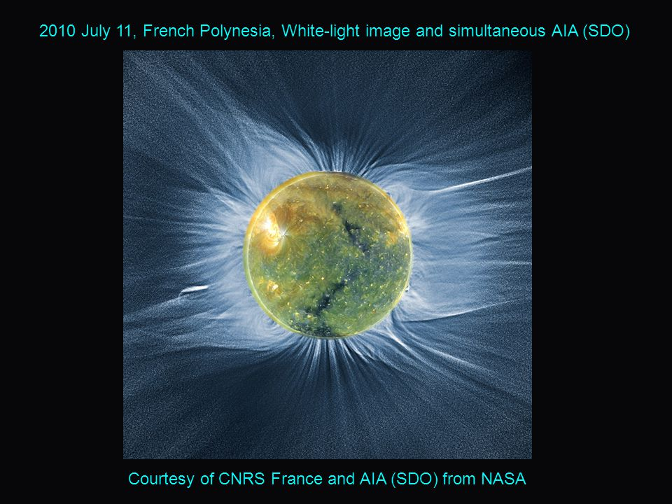 2010 July 11, French Polynesia, White-light image and simultaneous AIA (SDO) Courtesy of CNRS France and AIA (SDO) from NASA