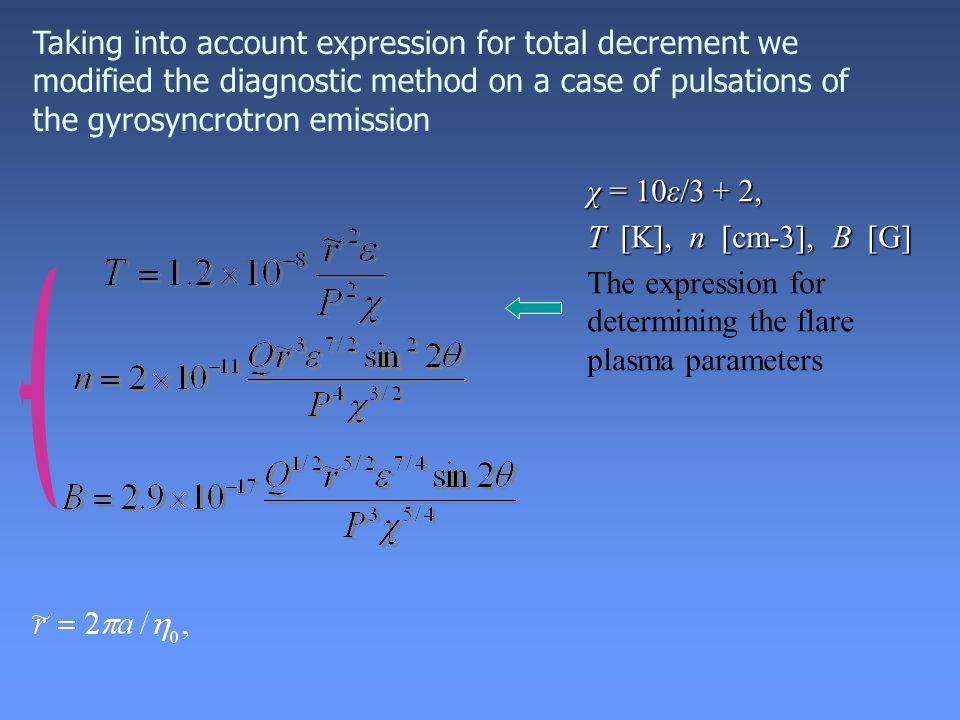 χ = 10ε/3 + 2, T [K], n [cm-3], B [G] The expression for determining the flare plasma parameters Taking into account expression for total decrement we