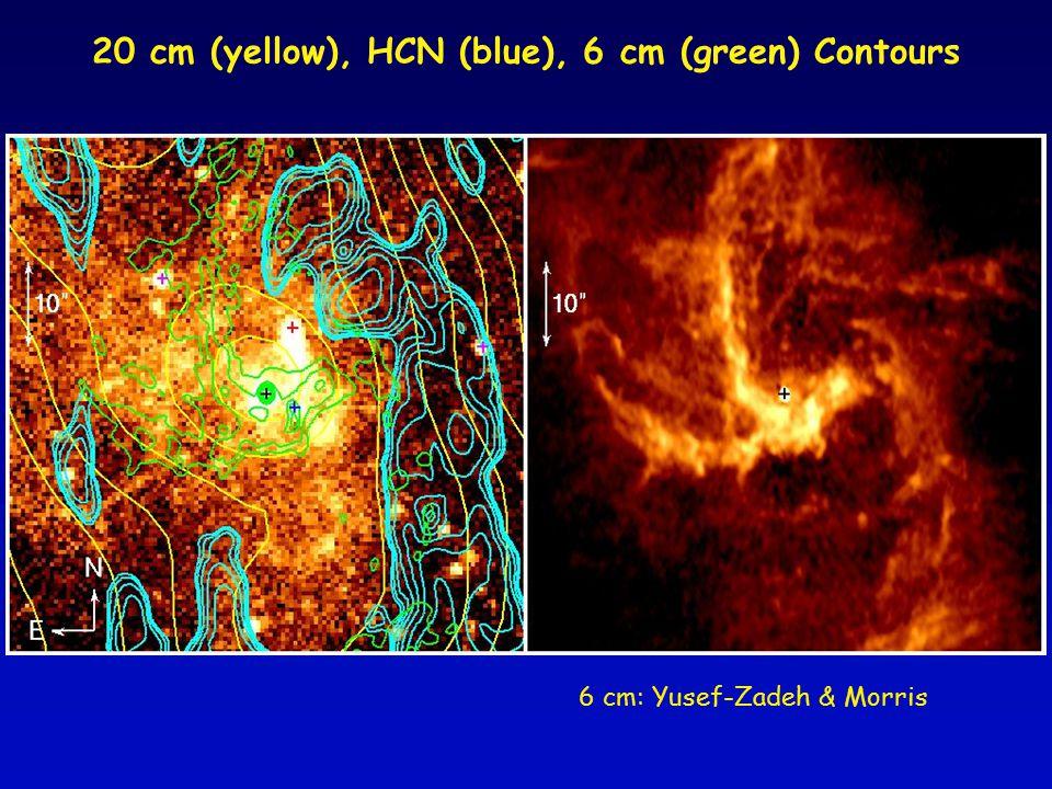 20 cm (yellow), HCN (blue), 6 cm (green) Contours 6 cm: Yusef-Zadeh & Morris