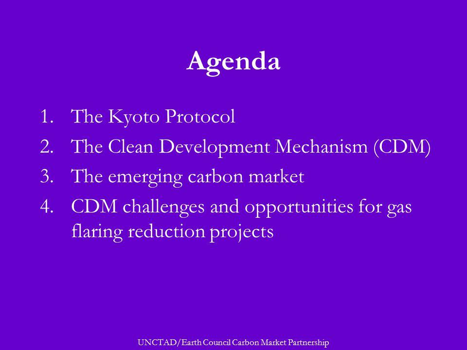 UNCTAD/Earth Council Carbon Market Partnership Agenda 1.The Kyoto Protocol 2.The Clean Development Mechanism (CDM) 3.The emerging carbon market 4.CDM