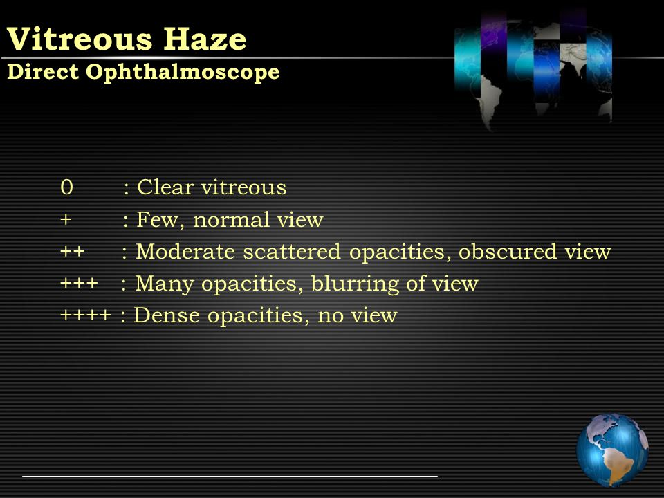 Vitreous Haze Indirect Ophthalmoscope ++++ : Optic nerve head obscured +++ : Optic nerve head visible, blurred border ++ : Better view of retinal blood vessels + : Better view of retinal blood vessels & ONH + : Blurring of nerve fiber layer striations 0 : Nerve fiber layer well defined