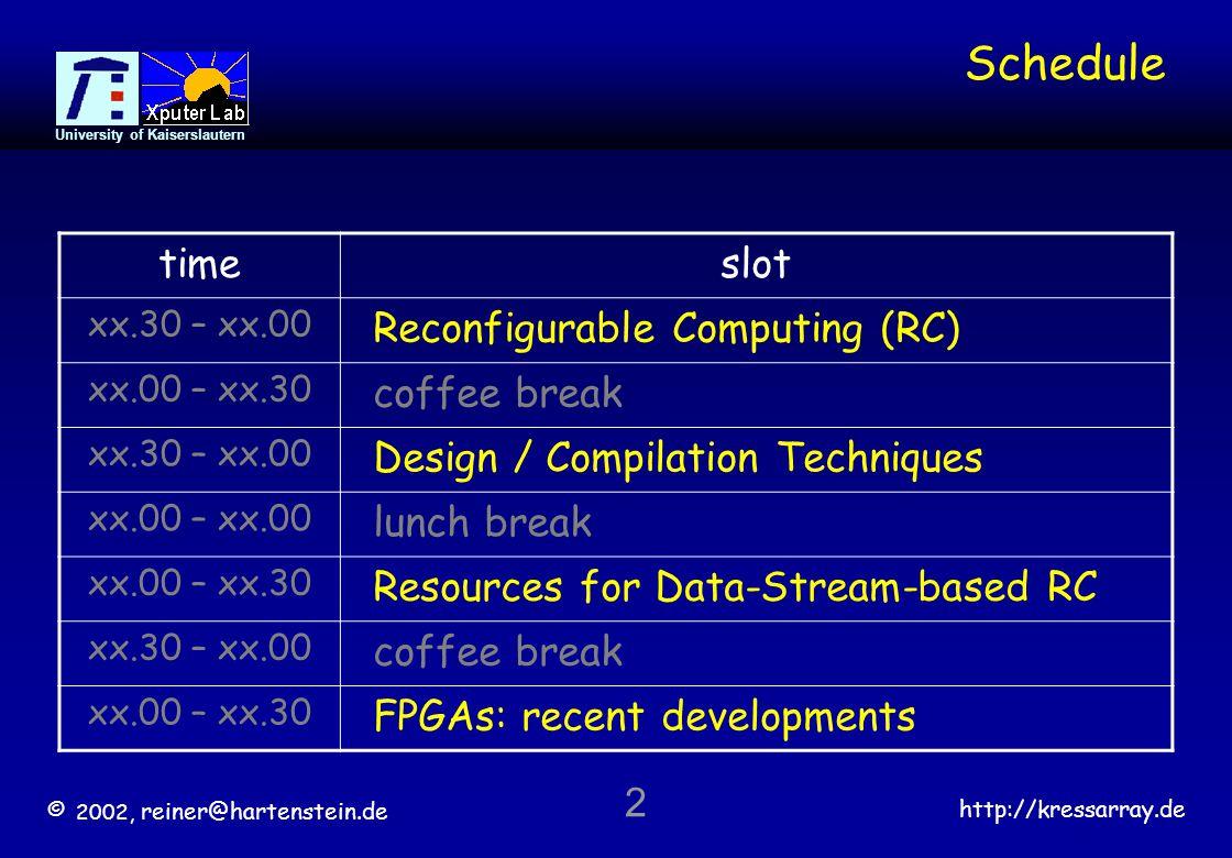 © 2002, reiner@hartenstein.de http://kressarray.de University of Kaiserslautern 43 Co-Compilation partitioning compiler high level programming language source  Processor Reconfigurable Accelerators interface Anti Machine Paradigm: Reconfigurable Architecture (rDPA) no CAD .