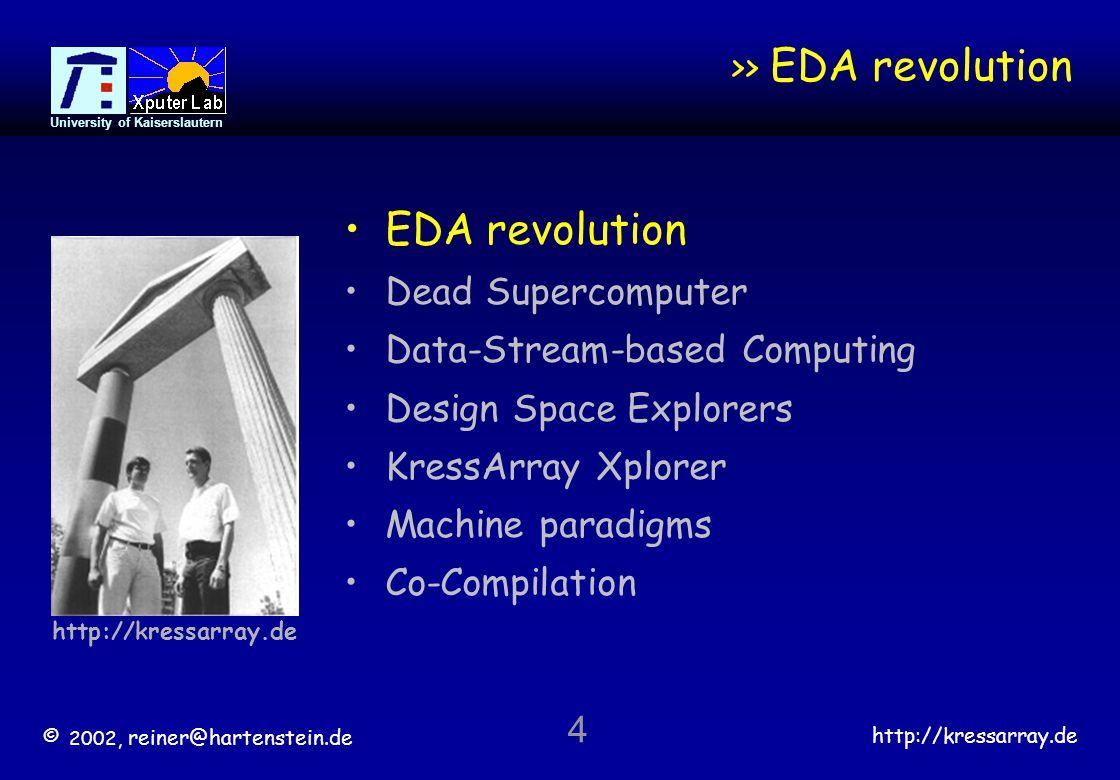 © 2002, reiner@hartenstein.de http://kressarray.de University of Kaiserslautern 5 Makimoto's 3rd wave [Hartenstein] The next EDA Industry Revolution 1978 Transistor entry: Applicon, Calma, CV...