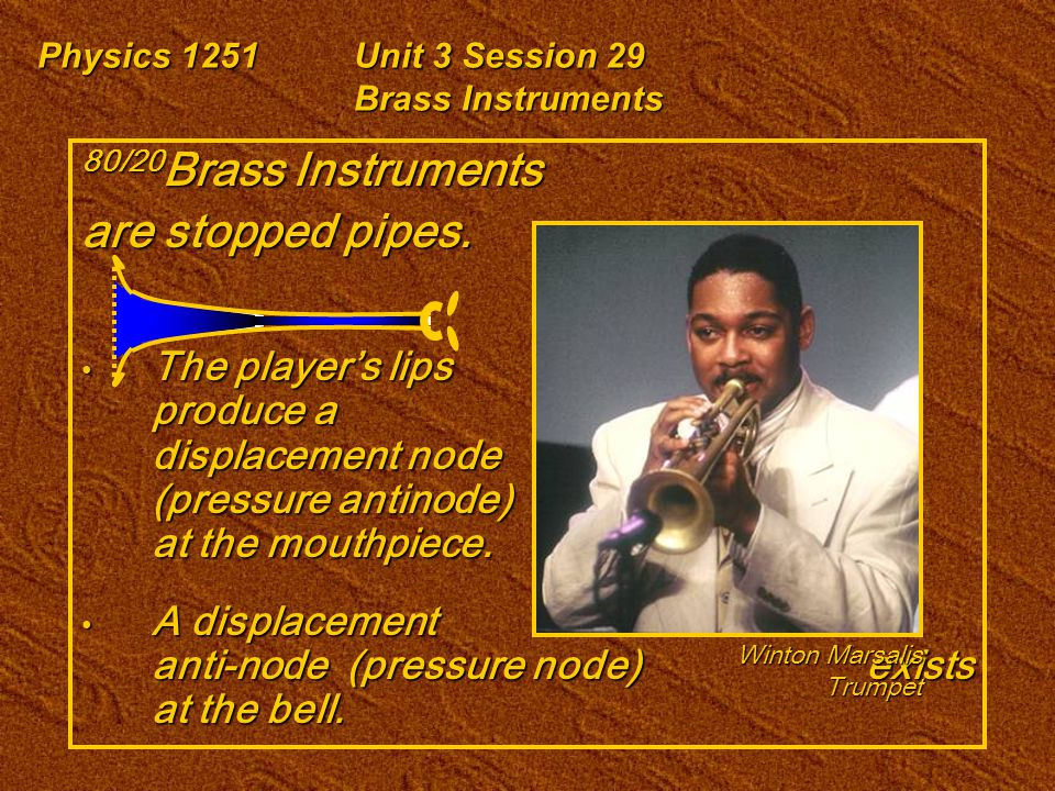 Physics 1251Unit 3 Session 29 Brass Instruments 80/20 Brass Instruments are stopped pipes. The player's lips produce a displacement node (pressure ant