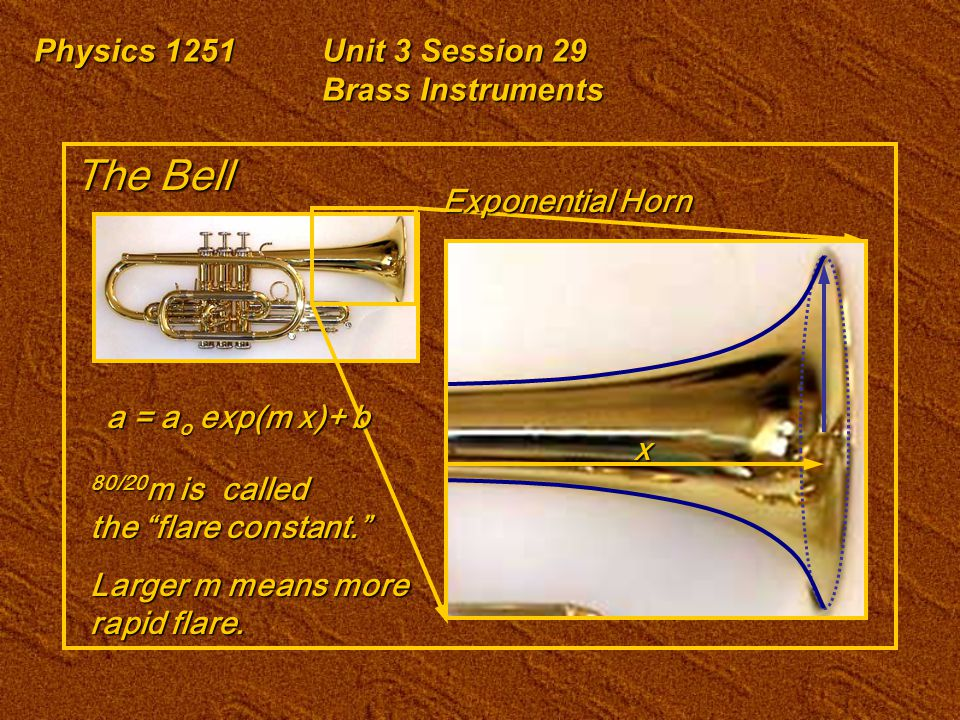 """Physics 1251Unit 3 Session 29 Brass Instruments The Bell a = a o exp(m x)+ b 80/20 m is called the """"flare constant."""" Larger m means more rapid flare."""