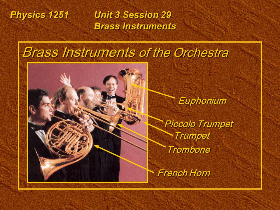 Physics 1251Unit 3 Session 29 Brass Instruments Brass Instruments of the Orchestra French Horn Trombone Trumpet Piccolo Trumpet Euphonium