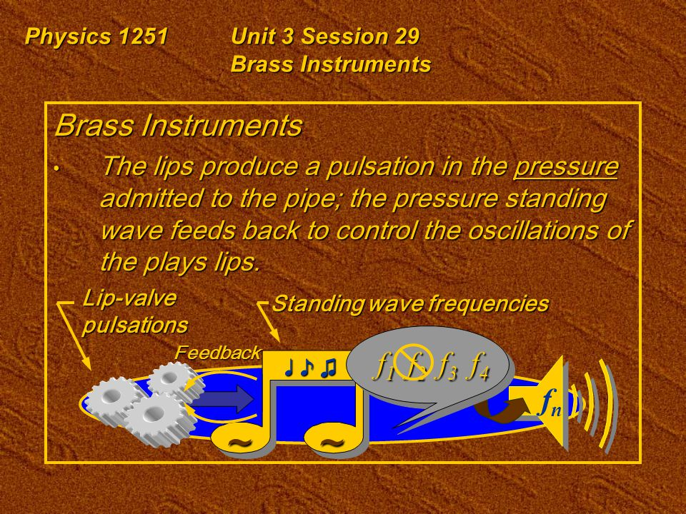Physics 1251Unit 3 Session 29 Brass Instruments Brass Instruments The lips produce a pulsation in the pressure admitted to the pipe; the pressure standing wave feeds back to control the oscillations of the plays lips.