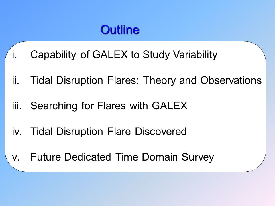 Outline Outline i.Capability of GALEX to Study Variability ii.Tidal Disruption Flares: Theory and Observations iii.Searching for Flares with GALEX iv.