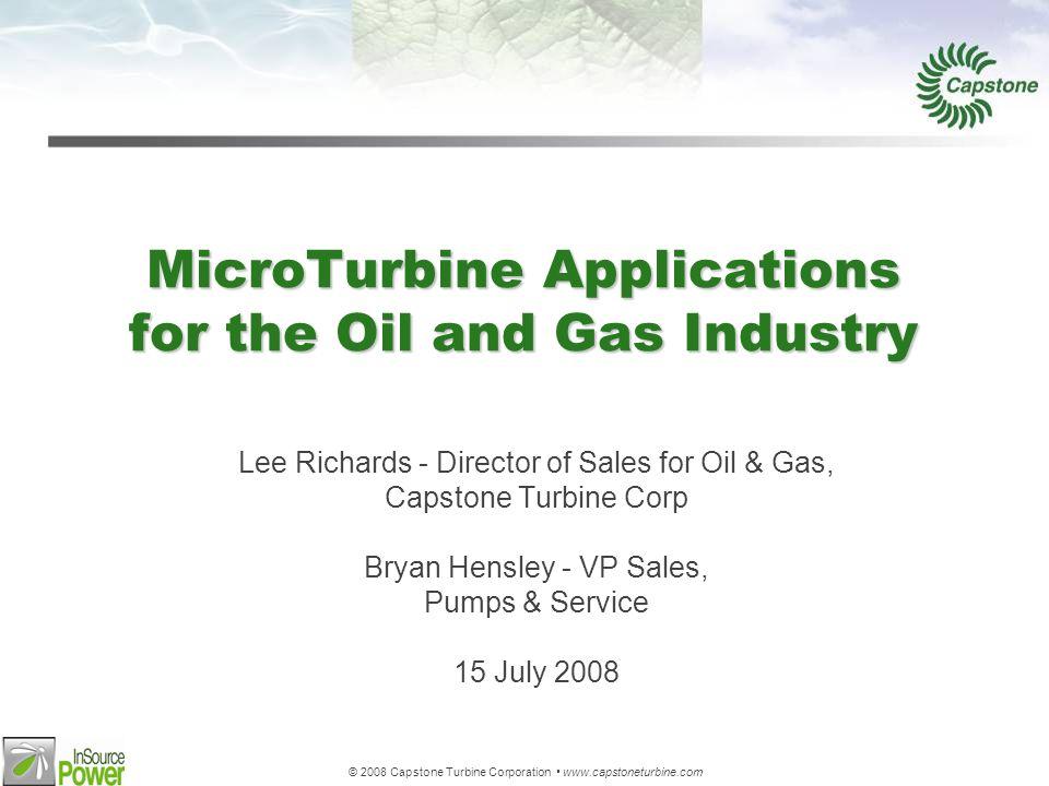 © 2008 Capstone Turbine Corporation www.capstoneturbine.com C1000 ISO Efficiency High Part Load Efficiency