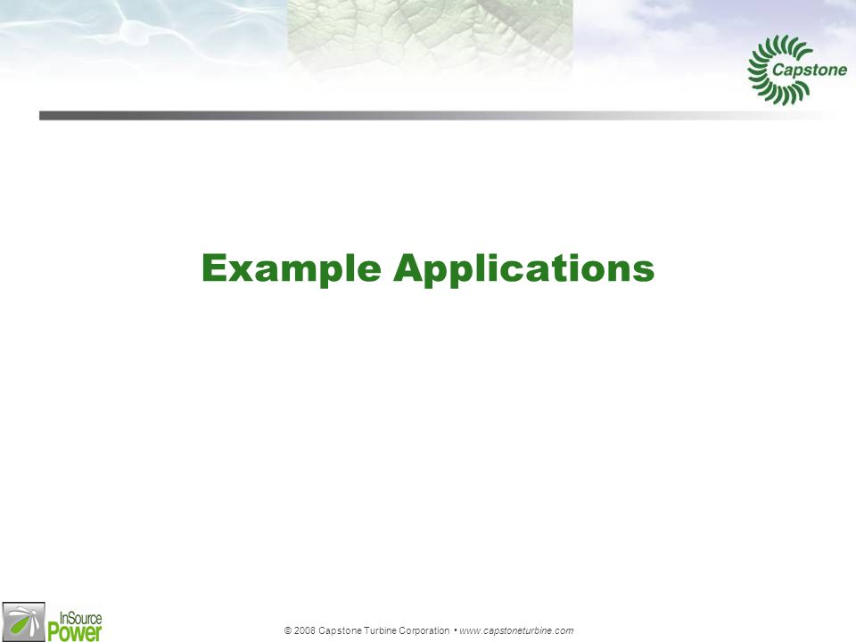 © 2008 Capstone Turbine Corporation www.capstoneturbine.com Example Applications